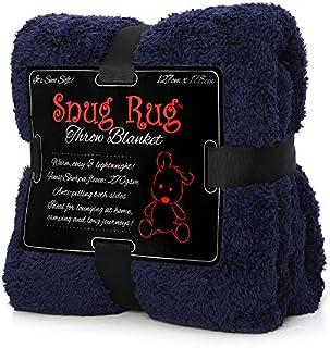 Snug-Rug Sherpa Throw Blanket (Navy)