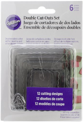 Wilton 417-2582 6-Piece Nesting Fondant Double Sided Cut Out Cutters, Square