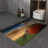 La Alfombra de baño es Suave y cómoda, Absorbente, Antideslizante,Árbol Calabaza Seta Caracol Telescopio Escalera Madera Prado VerdeApto para baño, Cocina, Dormitorio (40x60 cm)