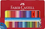 Faber-Castell 112448 - Estuche de metal con 48 ecolápices de color Grip, lápiz de grafito Grip 2001, pincel y afilalápices, multicolor