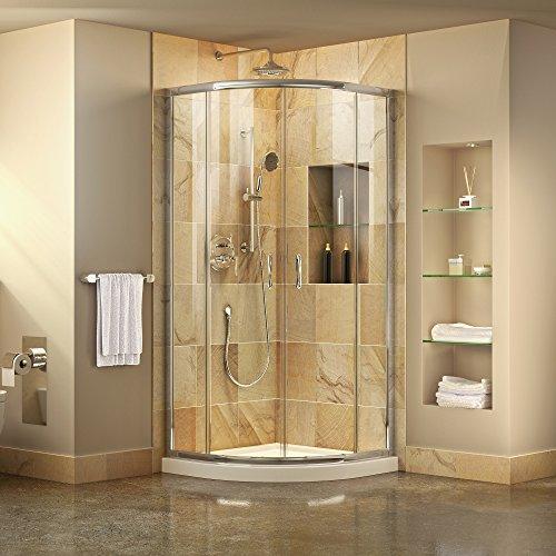 DreamLine Prime 36 in. x 74 3/4 in. Semi-Frameless Clear Glass Sliding Shower Enclosure in Chrome with White Base Kit, DL-6702-01CL
