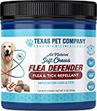 Texas Pet Company Flea Defender Flea & Tick Repellant All Natural Soft Chews, Easy to Chew for Large and Small Dogs, Natural Bacon Flavor, Made in The USA, 120 Chews, 9 Ounces / 255 Grams
