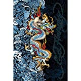 Buyartforless Ed Hardy Blue Dragon - Life Live Luck 36x24 Tattoo Art Print Poster Skull Roses Blue Lady Hidden Images