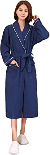 Unisex 100% Cotton Shawl Collar Waffle Long Bathrobe Dressing Gown with Two Pockets and Belt