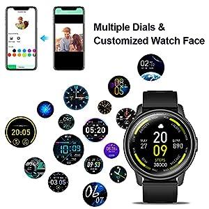 Smartwatch Hombre, Reloj Inteligente con Monitor de Sueño Oxígeno Sanguíneo Presión Arterial, Pulsómetr, Pulsera Actividad con Calorías Podómetro, Cronómetros, IP68 Impermeable Fitness Tracker
