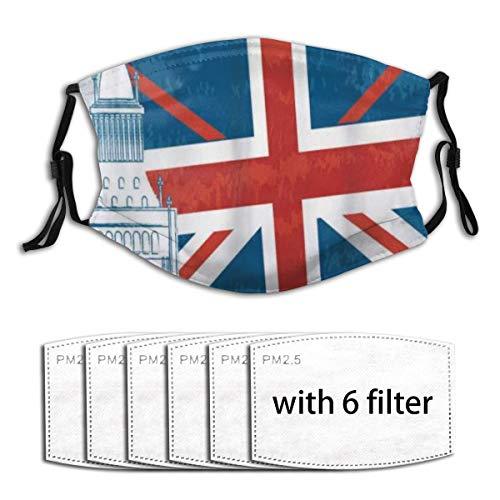 ZORMIEY Face Cover Big Ben Konzept des Glockenturms und der englischen Flagge Wiederverwendbare Anti-Staub-Mund-Bandanas mit 6 Filtern