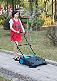 Gardenised Outdoor and Indoor Manual Floor Sweeper with Dual Side Brooms, 3.1 Gallon Capacity, Black and Blue