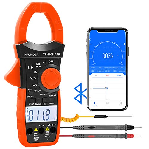 INFURIDER Digital AC/DC Volt Amp Clamp Meter,Wireless Bluetooth Auto Ranging 1000A Ammeter Clamp Multimeter for Voltage,Current,Ohm,Cap,Temperature Tester