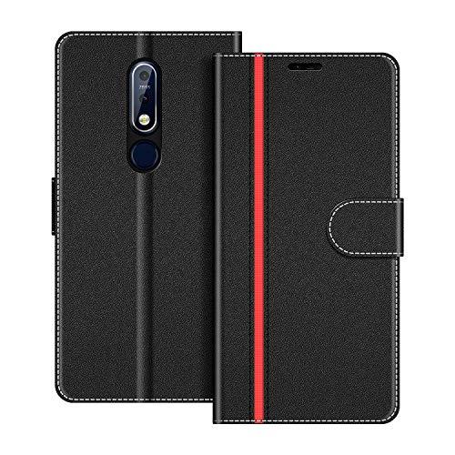 COODIO Handyhülle für Nokia 7.1 Handy Hülle, Nokia 7.1 Hülle Leder Handytasche für Nokia 7.1 Klapphülle Tasche, Schwarz/Rot