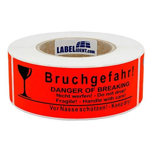 Labelident Warnetiketten auf Rolle 150 x 50 mm - Bruchgefahr! Danger of Breaking - Nicht werfen! Do not drop - 500 Versandaufkleber auf 1 Rolle(n), 3 Zoll Kern, Papier selbstklebend, leuchtrot