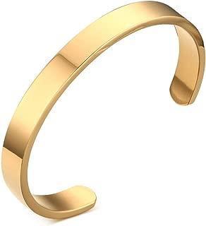 Stainless Steel Plain Polished Finish Cuff Bangle Bracelets for Men Women, 8mm,Gold Plated/Black/