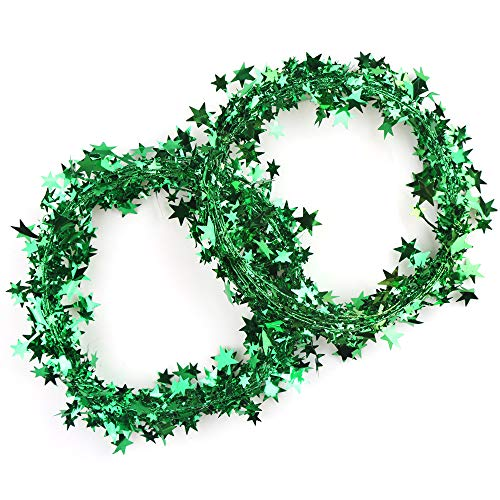 FINGOOO 2 Rolls Glitter Star Tinsel Garland,Green Metallic Star Wire Garland for Christmas, New Year Party Decoration,50 Feet