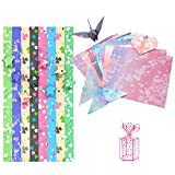 Origami Papel, Papel Origami Estrella Trébol de Cuatro Hojas Papel Origami Cuadrado de Flores De Doble Cara para Bricolaje Arte Artesanal