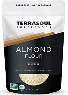 Terrasoul Superfoods Organic Almond Flour, 1 Lb - Fine Texture | Grain-Free | Gluten-Free | Perfect for Keto Baking