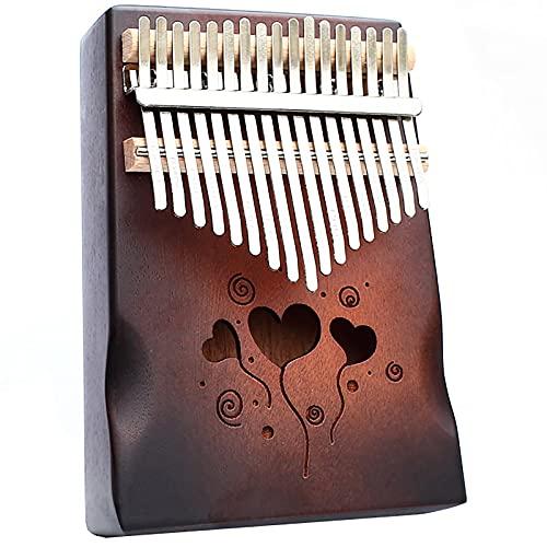 Kalimba 17-Tone Finger Piano Kalimbas Tambourine Percussion Instrumento Para El Entusiasta De La Música Principiantes Portátil Pulgar Piano Con Tune Martillo Wood color-18cm X 13cm