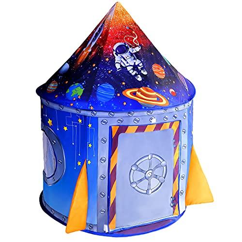 NiceCastle Tienda Campaña Infantil, Casitas Infantiles Tela Jardin Cohete Astronauta Espacial Tipi Infantil, Carpa Bebes Castillo de Interior y Exterior Casa Juego Regalo Juguetes para Niños y Niñas