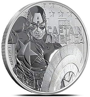 2019 TV Tuvalu 1 oz .9999 Fine Silver $1 Marvel Series Captain America™ Acrylic Capsule Included $1 Brilliant Uncirculated