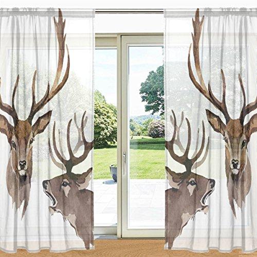 ALAZA My Daily Hirsch Bedruckt Sheer Fenster und Tür Vorhang 2Felder 139,7x 213,4cm Rod Pocket Panels für Wohnzimmer Schlafzimmer Decor, Polyester, Multi, 55