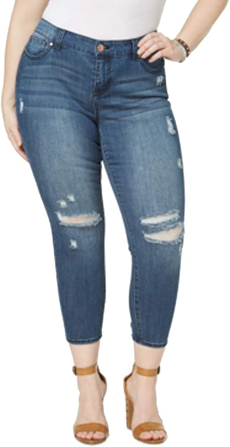 CelebrityPink Plus Size Ripped Skinny Ankle Jeans