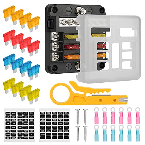 EEEKit 6 Vie Scatola Portafusibili a Lama con Terminali, Portafusibili con Indicatore LED di Avvertenza, Scatola Fusibili a 6 Circuiti con Bus Negativo per Camion Nautico 12V / 24V