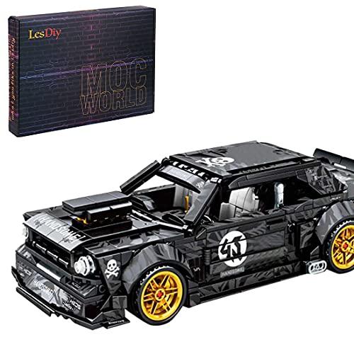 YOUX Technik Sportwagen Bausteine für Ford Mustang Hoonicorn, 828 Klemmbausteine Konstruktionsspielzeug Auto Bausteine Spielzeugauto Modell Kompatibel mit Lego Technik