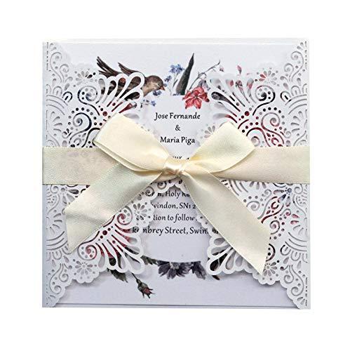 NINESH 50PCS Laser Hollow Wedding Carta de invitación Anual Tarjeta de felicitación de bendición navideña Tarjeta de Estilo Europeo Encaje Personalizado, Blanco
