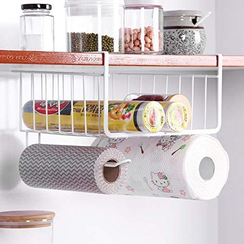 Amazon Com Under Cabinet Hanging Shelf Wire Basket Organizer For Cabinet Extra Storage Space On Kitchen Counter Pantry Desk Bookshelf Cupboard Closet Dormitory Anti Rust Stainless Steel Rack White Kitchen Dining