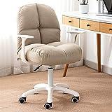 Sillas de oficina Sillas de escritorio ergonómicas / silla de oficina, algodón y lino Cómoda silla giratoria acolchada Silla de computadora de altura ajustable, para dormitorio, sala de estar, silla