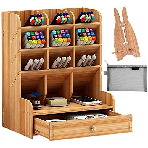Harxin Organizer da Scrivania in legno, Multifunzione, Portapenne Fai da te, Cancelleria da Scrivania, Forniture per Casa e Ufficio con Cassetto (Colore Ciliegia)