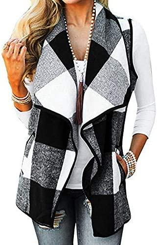 CUCUHAM Womens Vest Plaid Sleeveless Lapel Open Front Cardigan Sherpa Jacket Pockets Winter product image