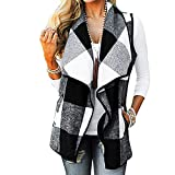 CUCUHAM Womens Vest Plaid Sleeveless Lapel Open Front Cardigan Sherpa Jacket Pockets Winter(Y2-White,X-Large)