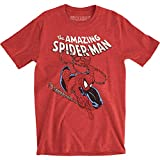 Marvel Spider-Man - Mens Spidey Swinging Fitted T-Shirt, X-Large, Heather Red