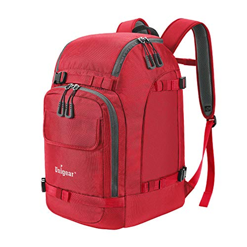 Unigear Ski Boot Backpack, Snowboard Shoes with Helmet Bag, Winter Sports Skiing Skating Rucksack (Red)