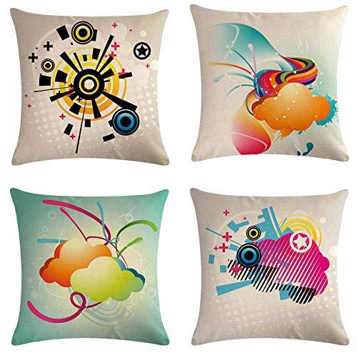 SCVBLJS Cojín Decorativo De La Funda De Almohada De Lino del Algodón De La Animación para El Dormitorio Casero Interior Al Aire Libre 45X45Cm