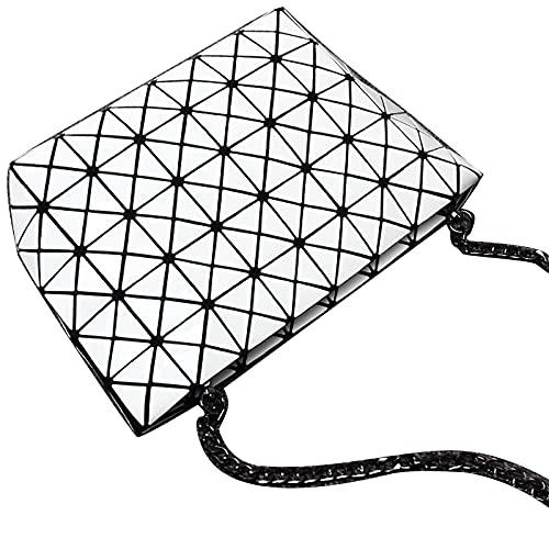 QIANJINGCQ nuevo todo-fósforo moda clásico rombo geométrico bolso de mensajero bolso de cadena tendencia un hombro láser debajo del brazo mochila