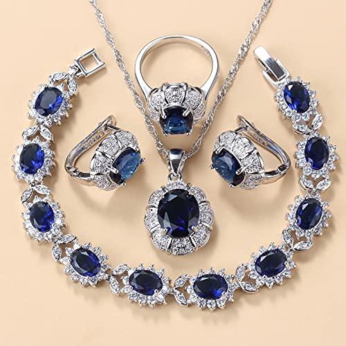 yuge 925 plata esterlina collar y pendientes conjuntos de joyería para las mujeres Accesorios de moda verde circón encanto pulsera y anillo conjuntos 6 Blue4PCS