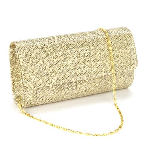 Anladia Elegant Damentasche Clutch Party Handtasche Abendtasche Brauttasche gild