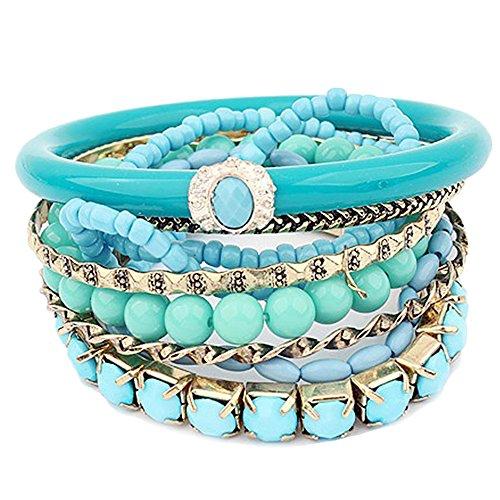 1 juego de pulseras vintage para mujer, diseño único, pulsera de metal mixta con perlas, juego de pulsera muy bonito, accesorios de moda, color turquesa