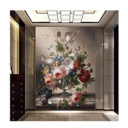 Mssdebz 3D fotobehang eenvoudig en romantische woonkamer decoratief schilderij edele vaas grote muurschildering behang 450 cm x 300 cm.