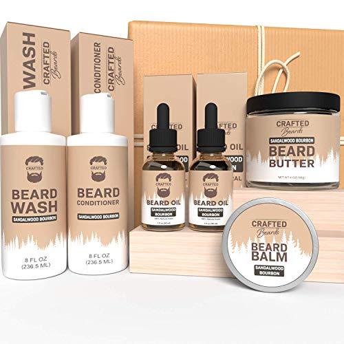 Beard Care Kit - Crafted Beards Ultimate Beard Grooming Bundle - Sandalwood Bourbon - Beard Wash - Beard Conditioner - 2 Beard Oils - Beard Butter - Beard Balm - Best Gift for Men