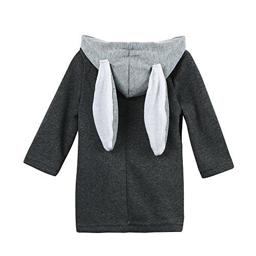 XXYsm XXYsm Kinder Mantel Mit Kapuze Baby Mädchen Jacke Kapuzenmantel Herbst Winter mit Ohren Dicke Warme Kaninchen Kleidung Grau 2-3 Jahre