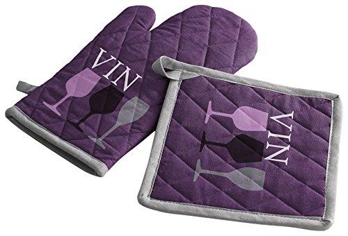 douceur d'intérieur gant + manique 17x31cm/20x20cm coton cave a vin violet