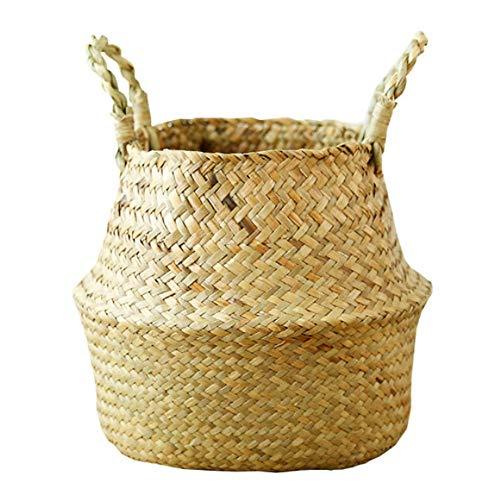 Snewvie 植物花鉢 収納バスケット 編み 鉢カバー 観葉植物 折りたたみ 花鉢 ハンドル付き 手作り洗濯物 おもちゃ 鉢かご 鉢カゴ ビーチバッグ