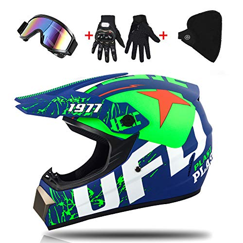 Helm kind motorcross, mannen en vrouwen volledige gezicht motorfiets kruis met bril/masker/handschoenen racen sport off-road Quad motorfiets crash (52-59cm) -LWAJ