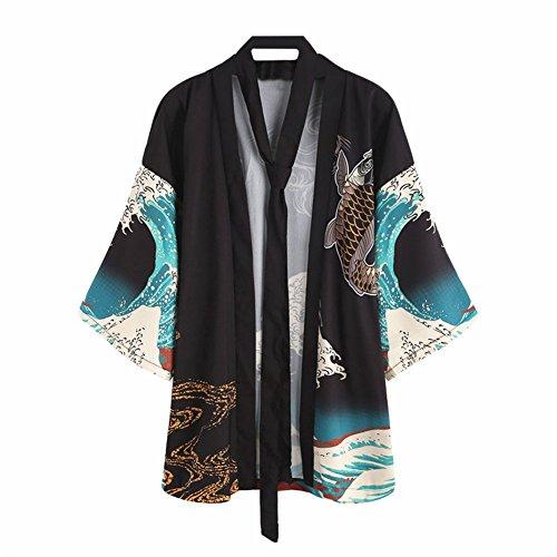 Japonés Estilo Kimono Bata de baño Kimono Dormido Túnica Cosplay Disfraz Túnica