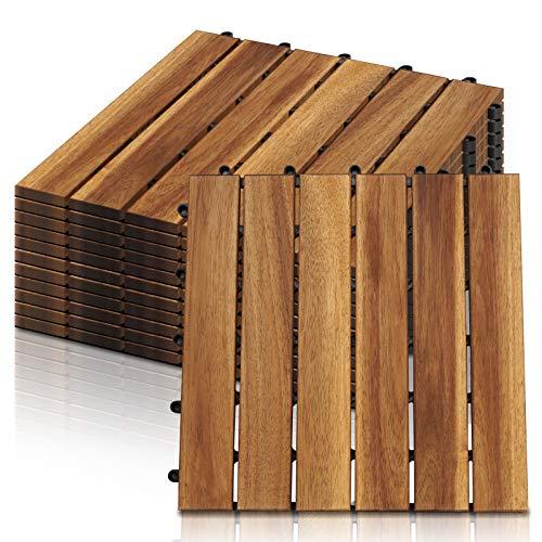 Hengda Baldosas de madera en acacia, Set de 11 Decking Tiles Interiores y Exteriores, Entrelazadas, suelo con estructura de drenaje, para Patio Balcón Terraza Jardín(Model A | 1m²)