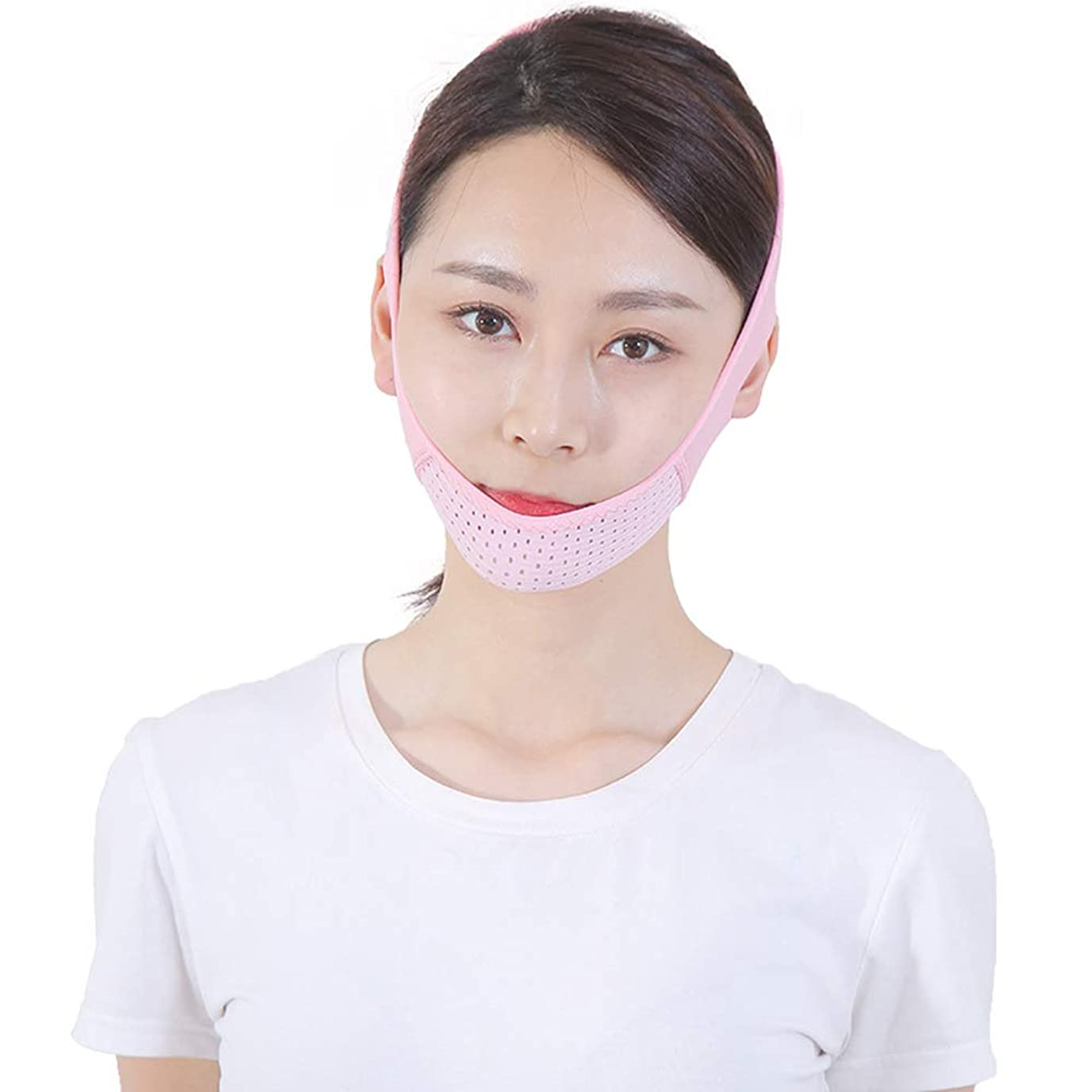 直接胸体Jia Jia- フェイシャルリフティング痩身ベルトフェイススリムゲットダブルチンアンチエイジングリンクルフェイスバンデージマスクシェイピングマスク顔を引き締めるダブルチンワークアウト 顔面包帯