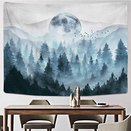 Bosque de Niebla Tapiz de montaña Colgante de Pared Paisaje Natural Tapiz de Tela Telón de Fondo Decoración de Arte Alfombra de Pared Funda de sofá Fina 150x200CM
