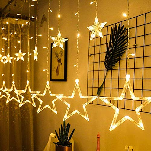 Light Curtains String Lights 12 Stars 138 LEDs Lighting Decoration for Christmas Party Holiday Weddings Windows