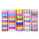 ZHANGY Washi Tape 50 Rolls Glitter Washi Tape Set para decoradores de Bricolaje Scrapbooking Adhesive School/Party Supplies,3M